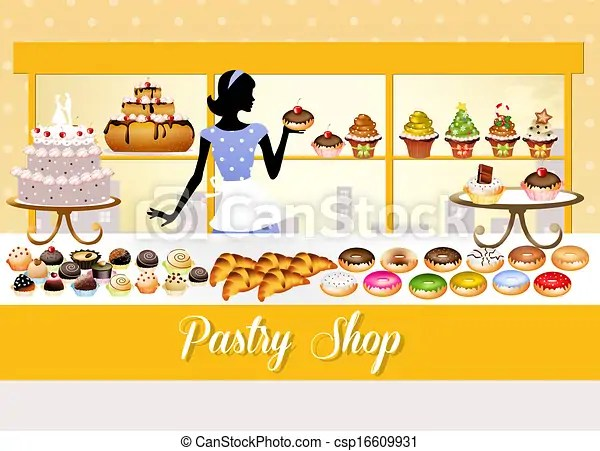 Drawings of pastry shop - illustration of pastry shop ... (450 x 343 Pixel)