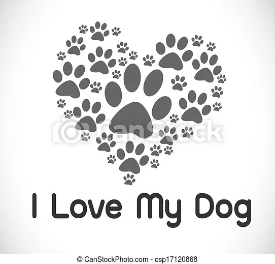 Download Clip Art Vector of I Love Dog symbol and cute Dog - I Love ...