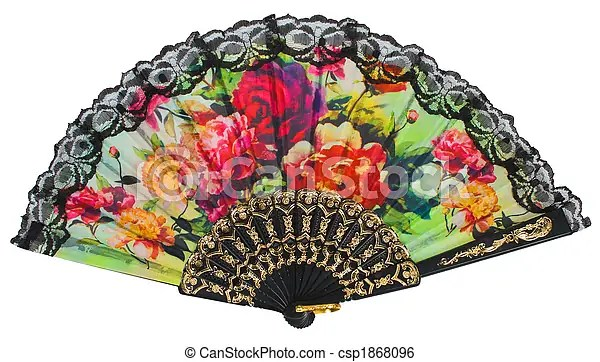 Stock Image of painted spanish hand fan isolated over ... (450 x 277 Pixel)