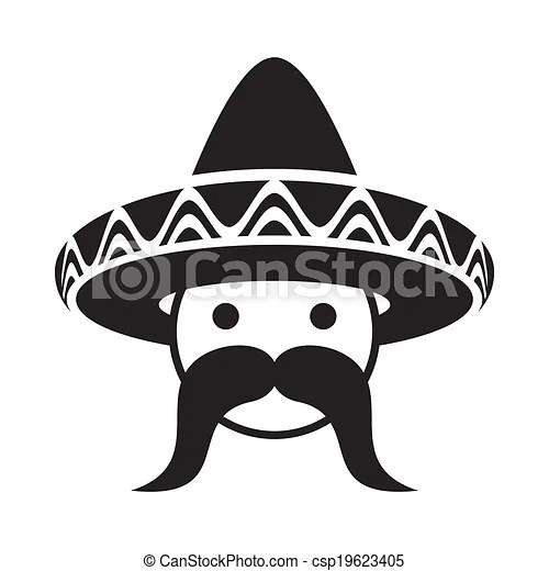 vector clipart of man with sombrero black man face with sombrero and