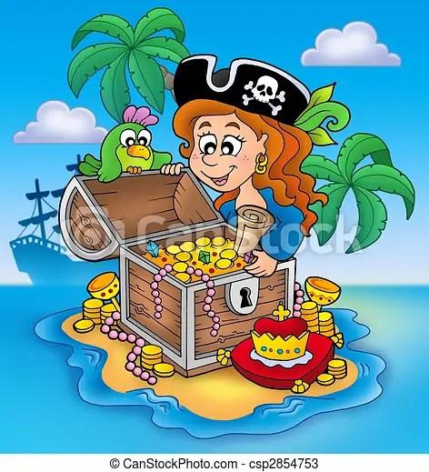 illustration pirate girl trésor banque d illustrations