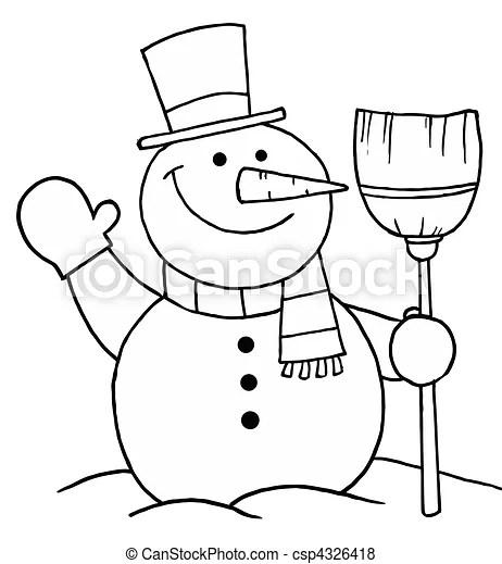 vecteur de bonhomme de neige tenue a balai et onduler noir et