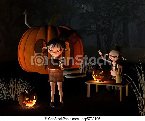 Halloween Goblins and Pumpkin House - csp5730106