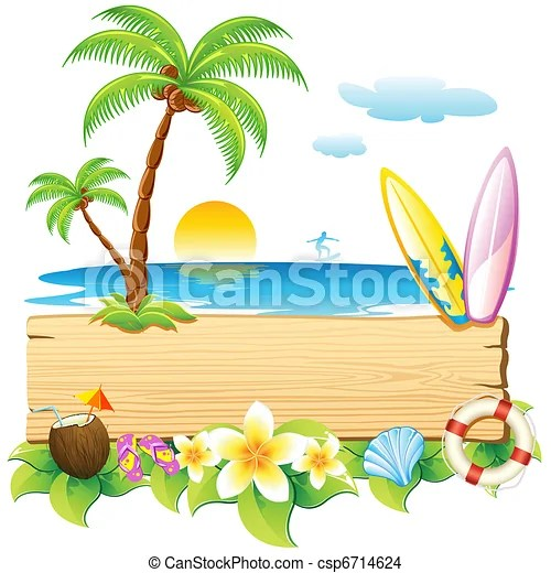 eps vector of sea beach illustration of surf board and palm tree on
