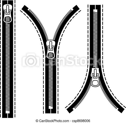 Clip Art Vector Of Vector Zipper Black Symbols Csp8698006
