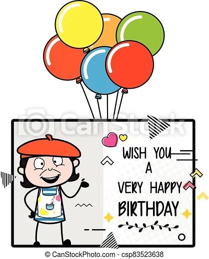 Cartoon Artist Happy Birthday Wishes Canstock