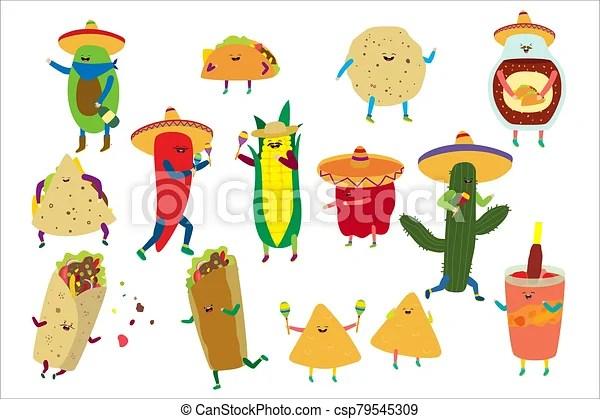 Cartoon Cute Mexican Food Vector Illustration Happy Kawaii Taco Tortilla Character Comic Burrito Dancing Icon Isolated On