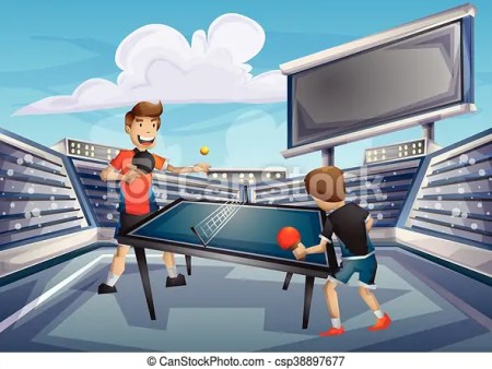 Cartoon Vector Table Tennis Olympic Sport With Separated Layers