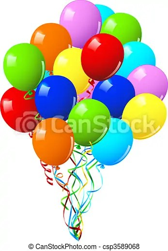 Celebration Or Birthday Party Balloons On A White Background Canstock