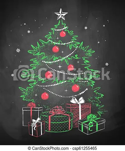 Christmas Tree With Gift Wrapped Boxes Color Chalk Vector