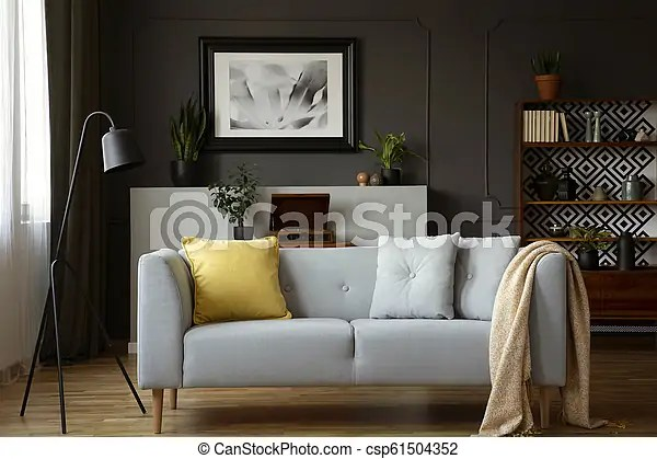 https www canstockphoto com comfy sofa with grey and yellow pillows 61504352 html