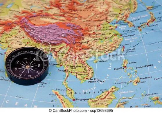 Compass and south east asia map  Compass and map that focus to     compass and south east asia map   csp13693695