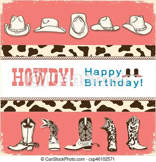Cowboy Happy Birthday Card With Western Hats And Boots Vector Child Card Retro Illustration Canstock