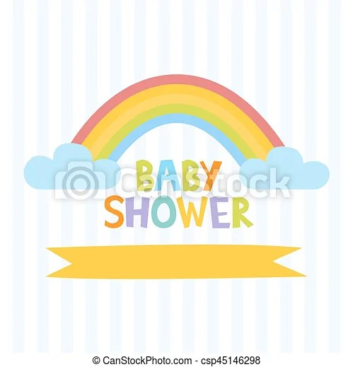 Cute Baby Shower Invitation Template With Letters And Rainbow Vector Illustration
