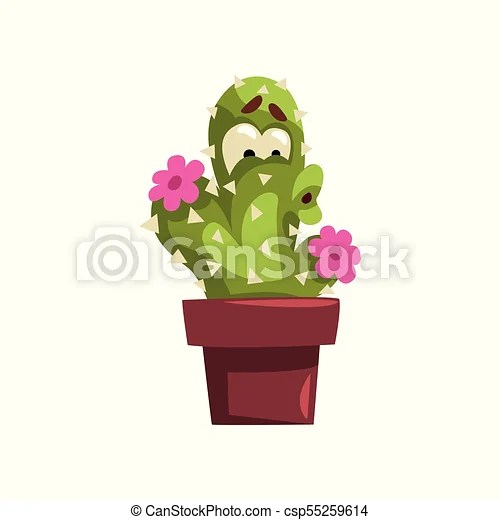 Cute cactus character with flowers  succulent plant with funny face     Cute Cactus Character With Flowers  Succulent Plant With Funny Face In  Flowerpot Vector Illustration