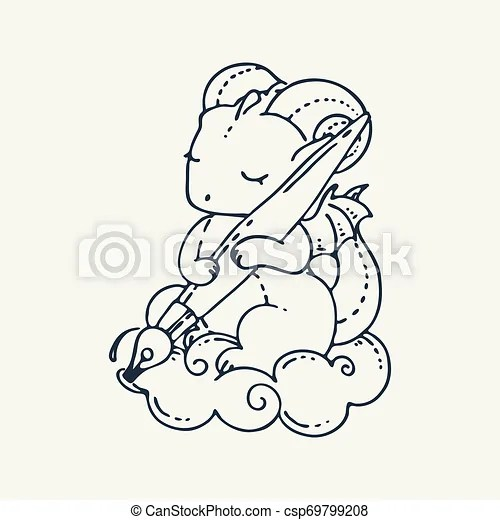 Cute Cartoon Dragon With Pen Vector Clip Art Illustration For Children Design Cards Prints Coloring Books Grungy Kawaii