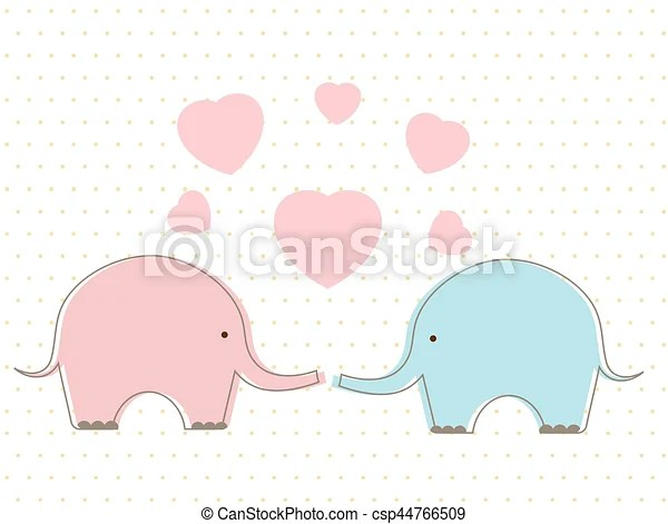 Cute elephants with heart. Cute blue and pink elephants in ...