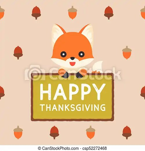 Cute Fox Holding Sign Happy Thanksgiving On Acorn Pattern Background Flat Design Vector For Holiday