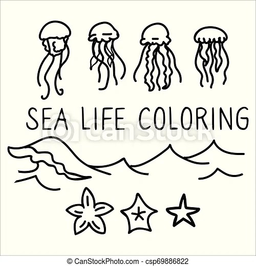 Cute Jellyfish Coloring Page Cartoon Vector Illustration Motif Set Hand Drawn Isolated Starfish And Wave Elements Clipart