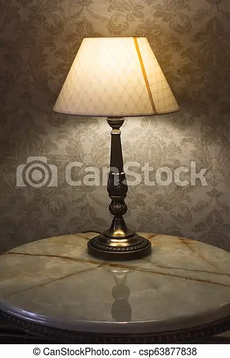 Dim Lights In The Bedroom From A Desk Lamp Lamp On The Bedside Table Lighting In The Bedroom Table Lamp With Lampshade