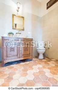 Elegant bathroom with toilet and cabinet  Part of the elegant     Elegant bathroom with toilet and cabinet   csp45369585