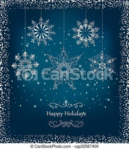 Elegant Christmas Card With Snowfla New Year And