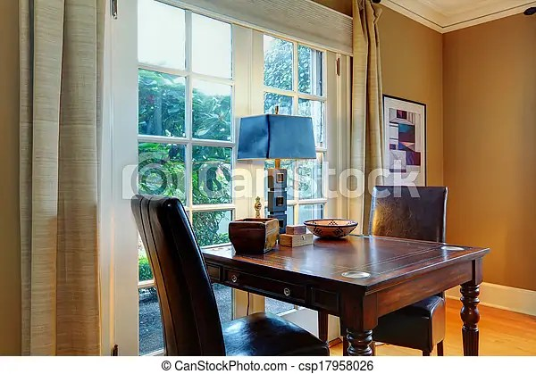 https www canstockphoto com elegant wooden table set with leather 17958026 html