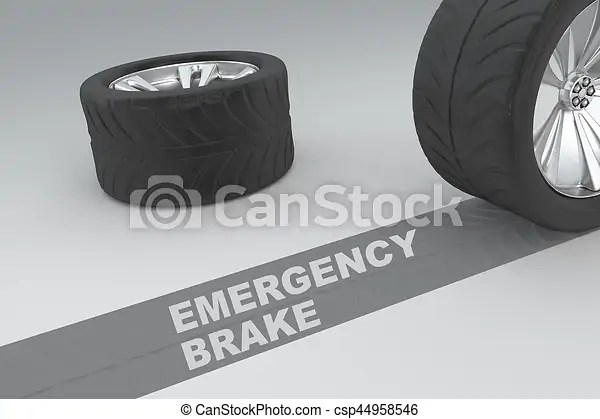 Emergency brake concept with text on a diagonal skid mark behind a motor vehicle tire over a grey background with a second tyre lying in the ...