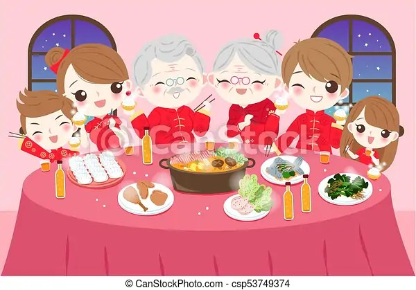 Family with chinese new year  Cartoon family wear cheongsam with     family with chinese new year   csp53749374