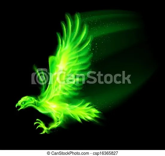Fire Hawk Illustration Of Green Fire Hawk On Black Vector Illustration Search Clipart