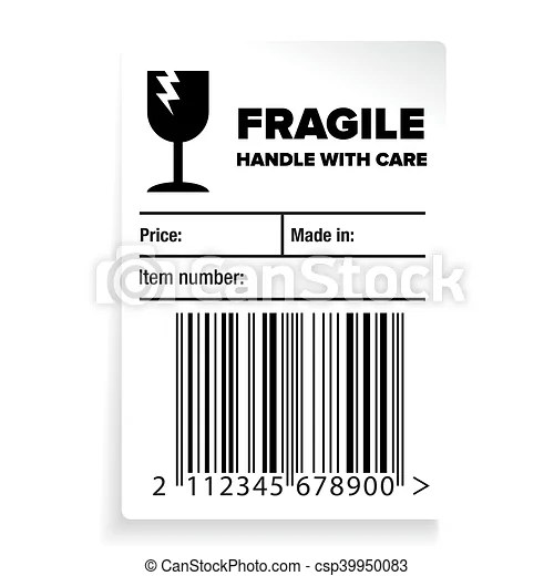 Fragile barcode packaging label or sticker vector.