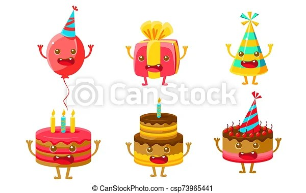 Funny Birthday Party Symbols Cartoon Characters Set Balloon Gift Box Party Hat Cake With Candles Cute Cartoon Characters Canstock