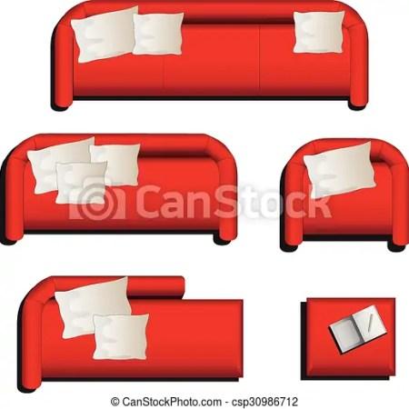 Furniture Top View Set 27 Vector