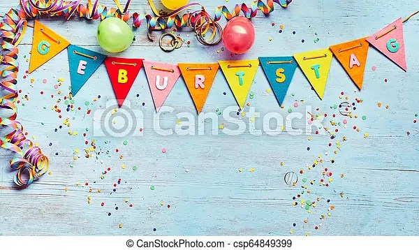 Geburtstag Or Birthday Party Background With Streamers And Balloons Above A String Of Colorful Bunting With German Text And