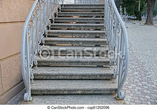 Gray Concrete Steps Of The Stairs With Handrails Near The Wall Of   Metal Handrails For Concrete Steps   Wrought Iron   Easy   Patio   Safety   Different Style