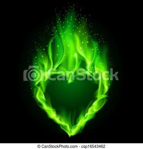Green Fiery Heart Blazing Green Heart Illustration On