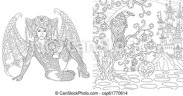 Halloween Coloring Pages With Vampire Girl Halloween Coloring Pages Fantasy Girl With Wings Horror Background With Spooky