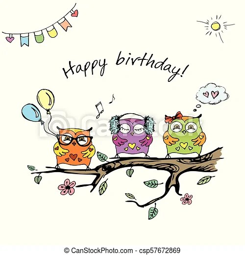 Hand Drawn Cute Owls Happy Birthday Card Stock Vector Illustration Canstock