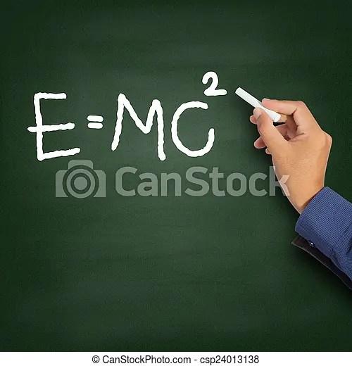 Hand writing theory of relativity (e=mc2) on a chalkboard.