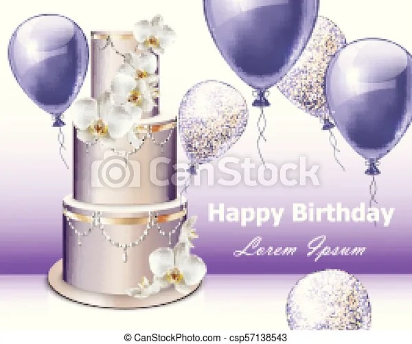 Happy Birthday Cake And Balloons Vector Party Invitation Gifts Backgrounds Canstock