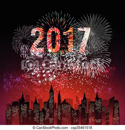 Happy new year 2017 with fireworks background   Happy New Year 2017 with fireworks   csp35461518