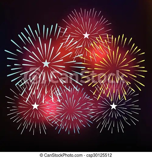 Happy new year with fireworks vector clip art   Search Illustration     Happy New Year with fireworks   csp30125512