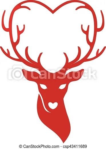 Download Head of deer with antlers love, deer love alters logo concept,