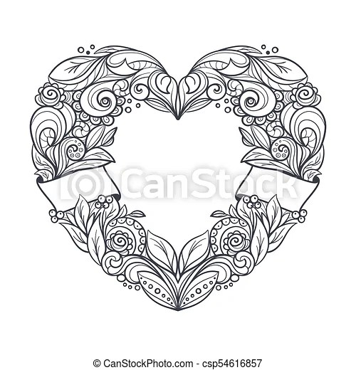 Heart Shaped Wreath Ornamental Wreath In A Shape Of A Heart Clean Uncoloured Lineart Tatto Design Freehand Drawing