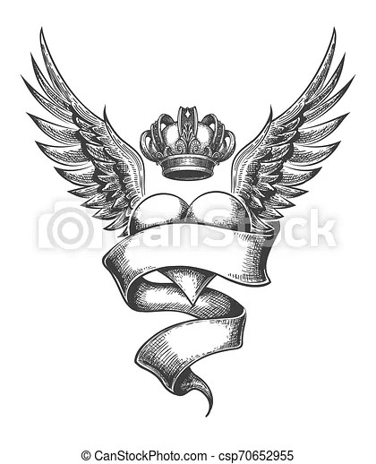 Heart With Crown And Wings Tattoo In Engraving Style Vector Illustration Heart With Crown Ribbon And Wings Tattoo Drawn In