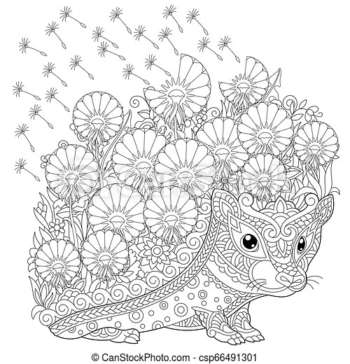 Hedgehog And Spring Flowers Coloring Page Coloring Book Page Anti Stress Colouring Picture With Hedgehog And Spring Flowers