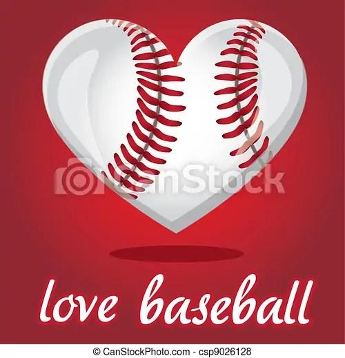 Download I love baseball. Baseball illustration shaped heart, over ...