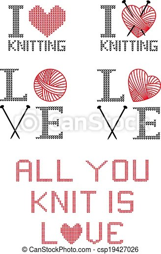 Download I love knitting, vector set. I love knitting, set of ...