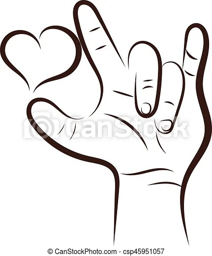 Download I love you hand sign out line.