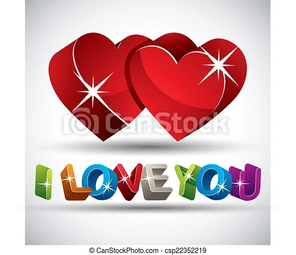 Download I love you phrase made with 3d colorful letters and two ...